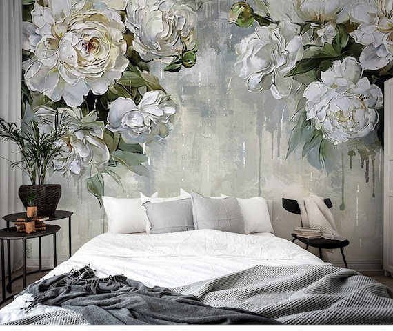 Classic Vintage Grey Floral Wallpaper,Grey Backgroud Ivory Flower Wall  Mural,Big Flowers Theme Wall Art, Oil Painting Wall Murals Wall Decor
