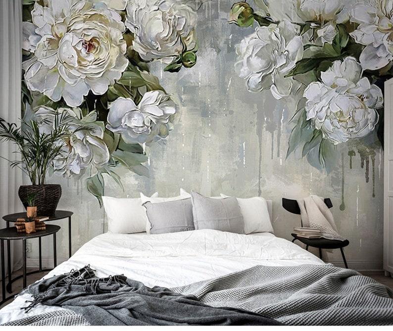 Classic Vintage Grey Floral WallpaperGrey Backgroud Ivory | Etsy