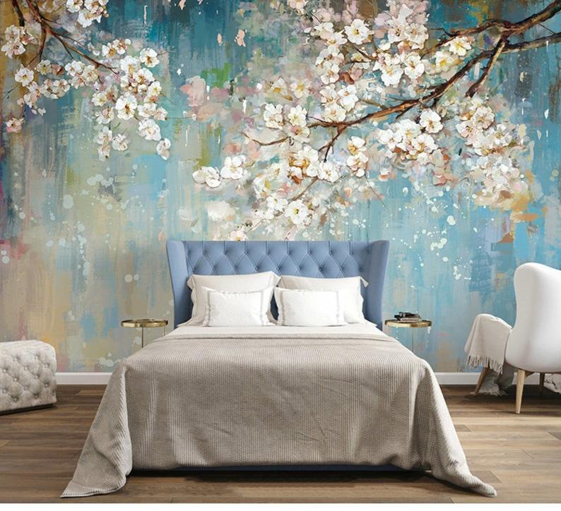 Fabulous Oil Painting Wallpaper Wall Mural Sakura Tree Wall | Etsy