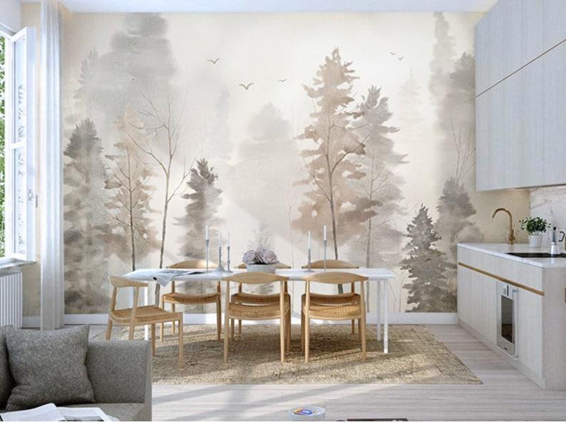 Trees Forest Fog Winter Wallpaper Wall Murals Hand Painted Plant Forest Trees Wallpaper Wall Mural High Qaulity Wall Decor Wall Art