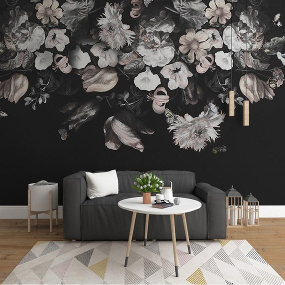Dark color vintage black and white floral wallpaper wall etsy image 0 mightylinksfo