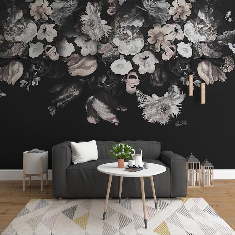 Dark Brown Vintage Hand Painted Floral Wallpaper Wall Murals Etsy