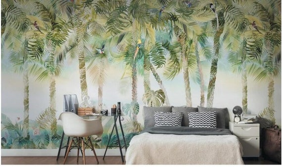 Oil Painting Palm Trees Wallpaper Wall Mural Tropical Plants Palm Trees Wall Murals Bedroom Living Room Wall Mural Wallpaper Wall Decor