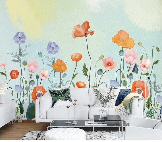 Hand Painted Fresh Flowers Wall Murals Wall Stickers Warm Color Wallpaper For Bedroom Living Room Garden Floral Wall Decor Wall Decals