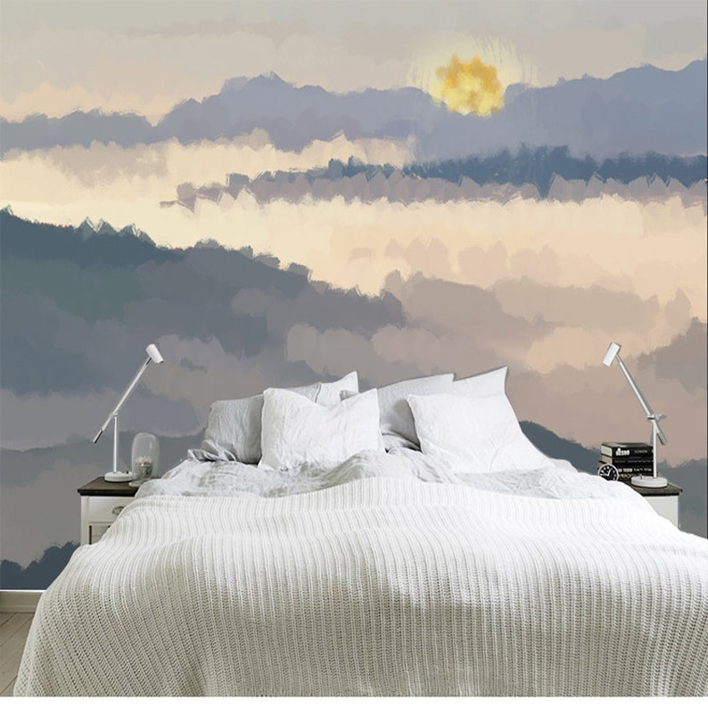 Abstract Oil Painting Mountains Sunset Scenery Wallpaper Wall Mural Nature Mountains Scenic Wall Mural Hand Painted Sunset Landscape Mural