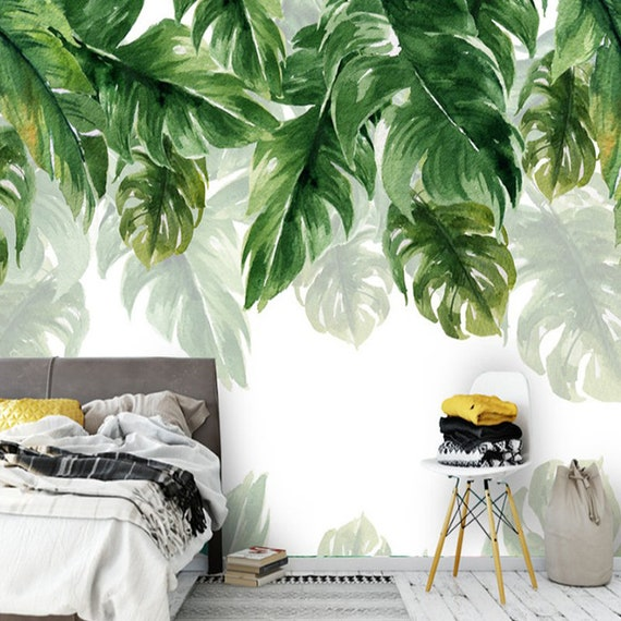 Tropische Regenwoud Bananen Bladeren Groen Blad Wallpaper Muur Muurschildering Opknoping Blad Olieverfschilderij Muur Muurschildering Muur Decor