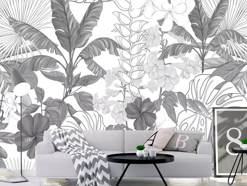 hand painted sketch tropical rainforest forest wallpaper wall etsyimage 0