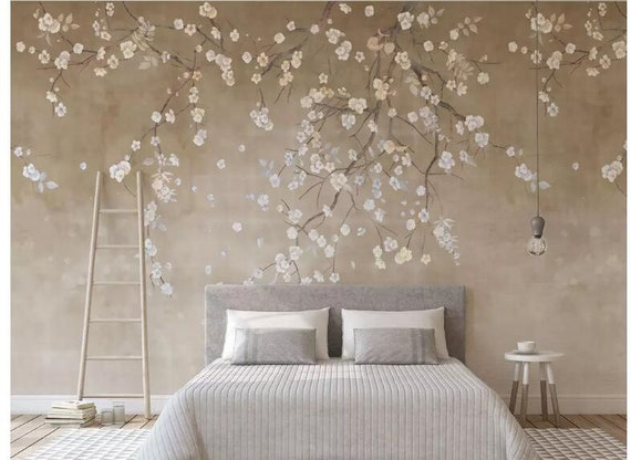 Hanging Cherry Blossoms Flowers Tree Wallpaper Wall Mural