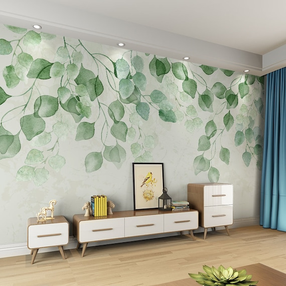 Watercolor Fresh Green Leaves Vine Wallpaper Wall Mural Etsy