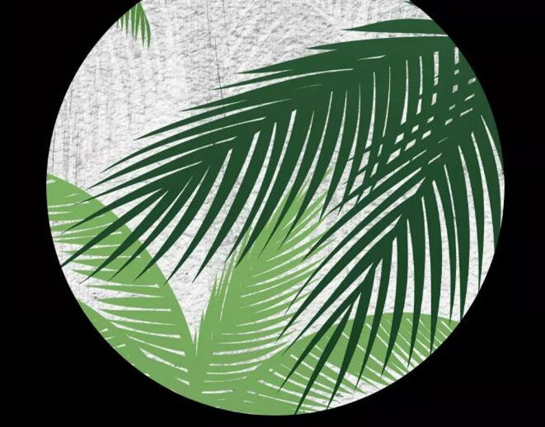 Coconut Trees with White Guardrail Wall Mural Tropical Coconut Trees Mural Beautiful Simple Green Coconut Trees Wallpaper Wall Mural