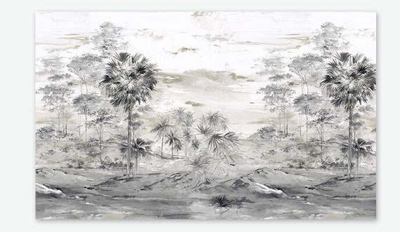 Hand Painted Sketch Grey Trees Landscape Wallpaper Wall Mural Sketch Trees Forest Landscape Scenic Grey Landcape Wall Mural Wall Decor
