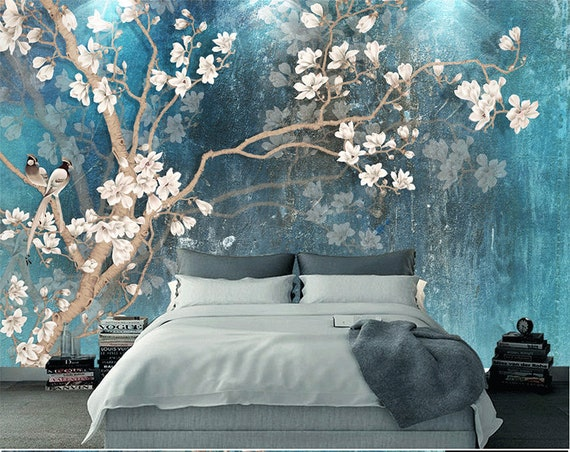 Blue Color Magnolia Flowers Wallpaper Wall Murals Etsy