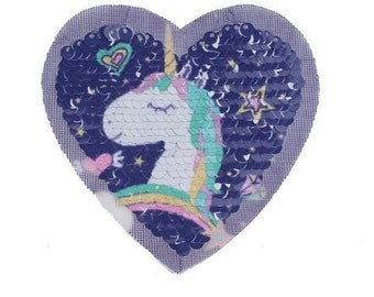 Sequin patch patch patch heart unicorn reversible sequins