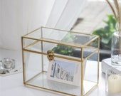 Large Foot Rectangle Geometric Glass Card Box Keepsake Recipe Reception Card Envelope Holder Display Gift Card Box with Swing Lid Latch