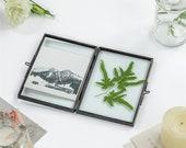 Brass Black Folding Screen Type Float Frame Geometric Ornament Plant Specimen Clip Modern Decor Card Holder 2-Folded 3.5X5 quot Reception
