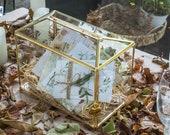 Large Geometric Glass Card Box Terrarium with Slot and Heart Lock, Foot, Gold, Handmade, Brass,for Wedding Receiption, Wishwell, Keepsake