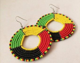 Statement Earring Kenya Earring Hoop Earring Africa Earring Masai Jewelry Kenya Jewelry Afr ON SALE Zulu Bead Earring Fulani Earring