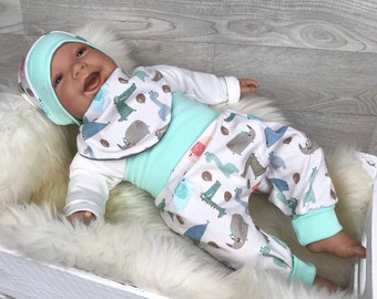 Baby Hose /& Mütze Set Mitwachshose Zipfelmütze Weiß Baumwolle Gr.50 56 62 68 74