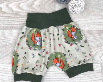 cd48a514b2 Kurze Pumphose khaki grün 56-116 , Shorts, babyhose , kurze hose ,  pumpshorts junge waldtiere fuchs