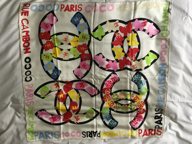 007bdf03e3c Vintage Chanel Silk Scarf