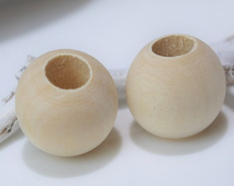 5 Natürliche Holzperlen 25mm Bohrung 10mm Makramee Blumenampel Perlen Hobby  Basteln Holzkopf Perlen
