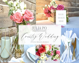 Download Free Wedding Styled Photography Bundle Stock Photo Country Style Rustic Invitation Mockup Pink Coral White Roses Wood Mint Blue Lifestyle Images PSD Template