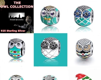 OWL Charm Trends Of London™ 925 Sterling Silver, CZ Stones and Red Enamel