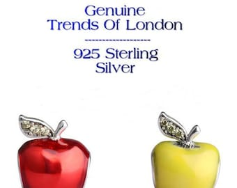 APPLE Charm Trends Of London™ 925 Sterling Silver, CZ Stones and Red Enamel