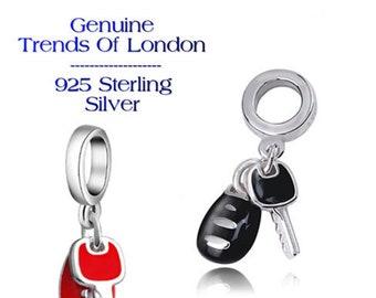 KEYS Charm Trends Of London™ 925 Sterling Silver, Black or Red Enamel