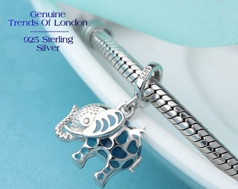 ELEPHANT Charm Glow In The Dark Trends Of London™ Solid 925 Sterling Silver and light Blue