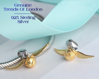 WINGED BALL Golden Snitch Charm Trends Of London™ 925 Solid Sterling Silver Harry Potter