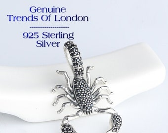 Scorpion Charm Trends Of London™ 925 Solid Sterling Silver, Black with pave inlayed Cubit Zirconia