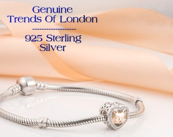 CAT HEART Charm Trends Of London™ Solid 925 Sterling Silver, Rose Gold & Cubic Zirconia (cz)