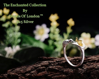 Humming Bird And Lily Ring Trends Of London™ Solid sterling silver with Beautiful Gold Stamen