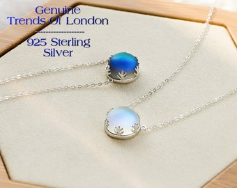 AURORA BOREALIS, Halo Crystal NECKLACE, Genuine Trends Of London™ Solid 925 sterling silver