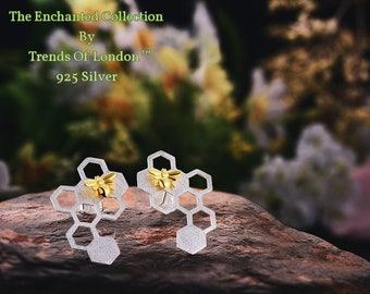 Bee and Honeycomb Earrings, Trends Of London™ Solid sterling silver with Beautiful Gold 3D Bee inlay
