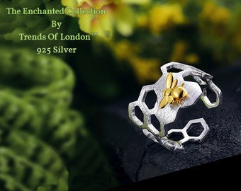 Bee and Honeycomb Adjustable Ring, Trends Of London™  SOLID 925 Sterling Silver with Beautiful Gold 3D Bee inlay