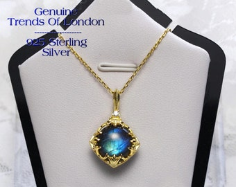 DRAGONS HEART Natural Labradorite- Necklace Trends Of London™ 14 ct Gold Plated