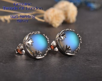 AURORA BOREALIS Halo Crystal Earrings GENUINE Trends Of London™ Solid 925 sterling silver