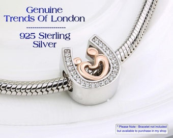 HORSE SHOE Mother and Child Mother and Daughter Charm Trends Of London™ Solid 925 Sterling Silver And Rose Gold