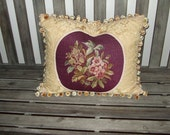Vintage Needlepoint Pillow Floral Design Featured On Gold Damask