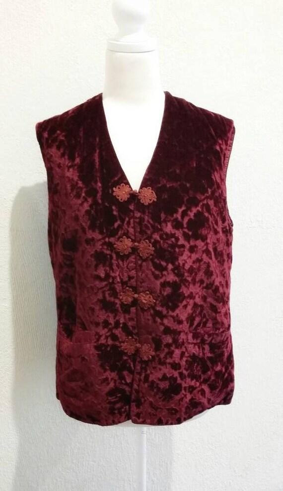 Vintage Burgundy Crushed Velvet Vest
