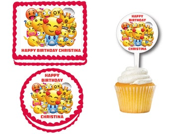 Emoji Themed Edible Birthday Cake Cookie Or Cupcake Topper Plastic Picks