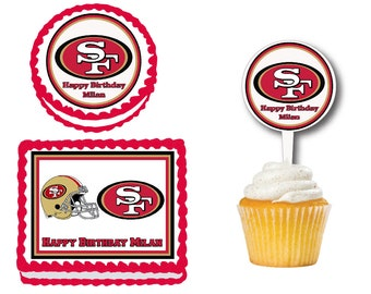 San Francisco 49ers Edible Birthday Cake Cookie Or Cupcake Topper Plastic Picks