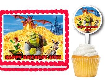 Shrek Edible Birthday Cake Cookie Or Cupcake Topper Plastic Picks