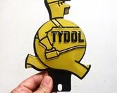 Tydol Veedol original advertising embossed tin license plate topper oil sign automobilia