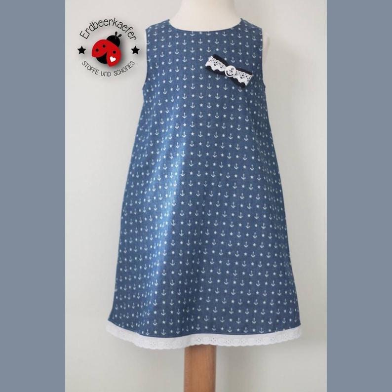 Kleid Gr. 98104 Jeanskleid Festkleid Geburtstagskleid Geschenk für Mädchen maritim Anker Sommerkleid