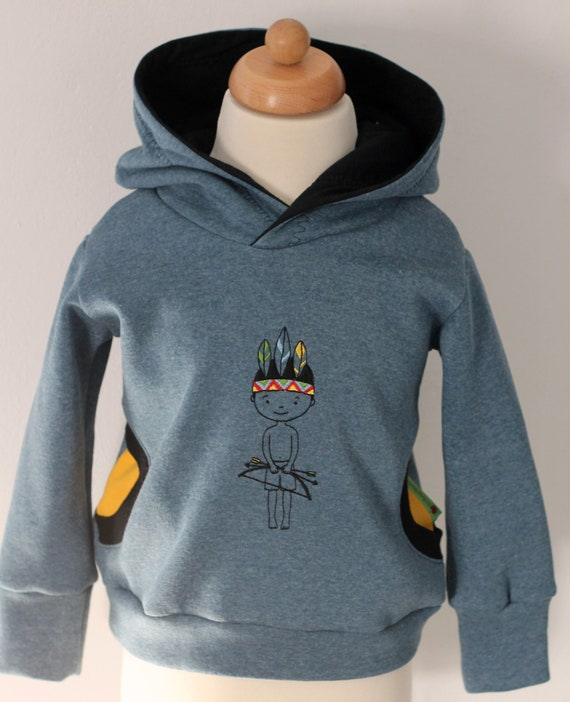 HOODIE Gr. 8692 blau Indianer Geschenk für Jungs Kapuzenpullover Pulli für Jungs