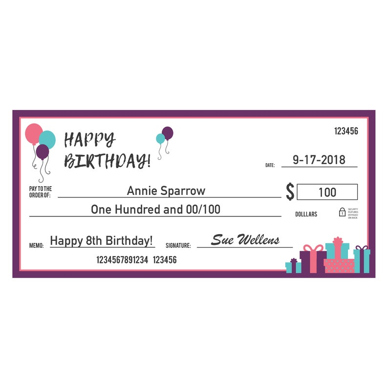 GIANT Personalised HAPPY BIRTHDAY Large Cheque
