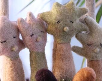 small felted sapling dolls made of wool felt Handmade Photoprop newborn photography